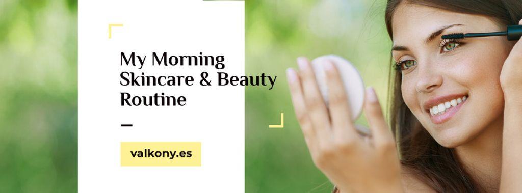 Skincare tips with Woman applying Makeup — Создать дизайн