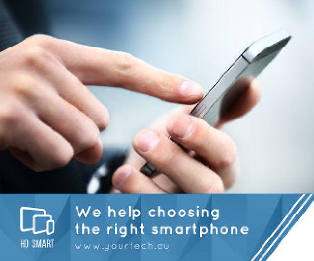 Plantilla de diseño de Smartphone Review Man Scrolling Phone Large Rectangle