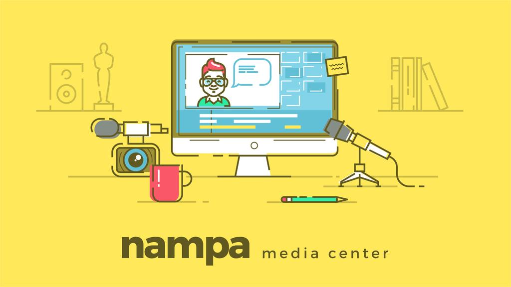 Camera and microphone by screen with blogger page - Bir Tasarım Oluşturun