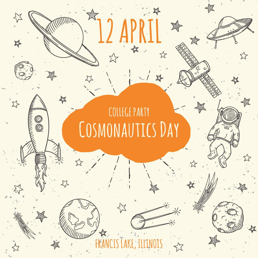 Cosmonautics day party announcement — Maak een ontwerp