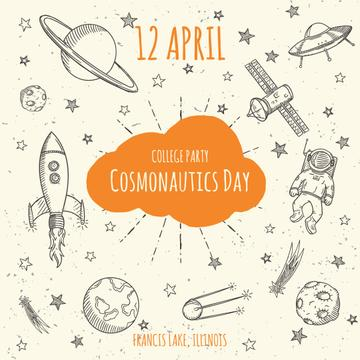 Cosmonautics day party announcement