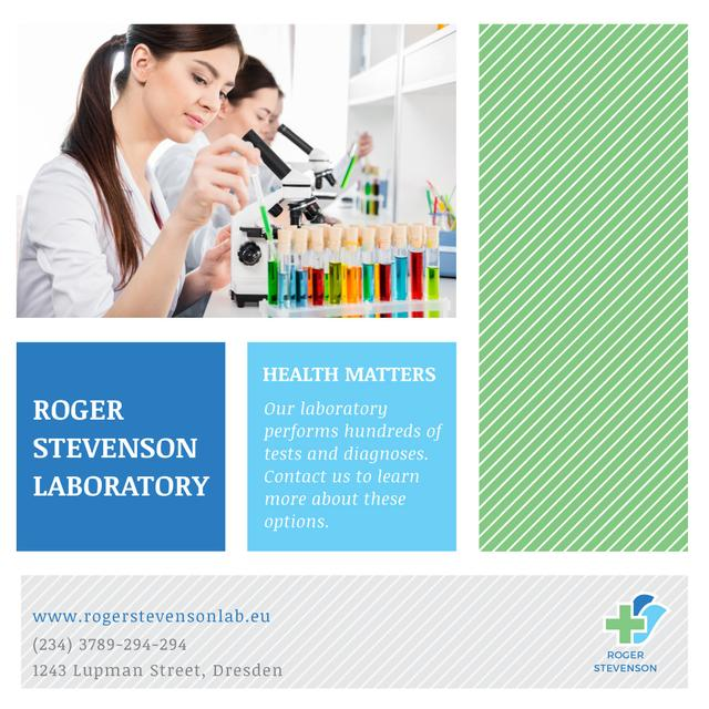 Team of Scientists Working by Microscope Instagram AD Modelo de Design