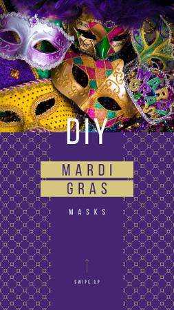 Mardi Gras Carnival Masks in Purple Instagram Storyデザインテンプレート