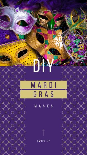 Plantilla de diseño de Mardi Gras Carnival Masks in Purple Instagram Story