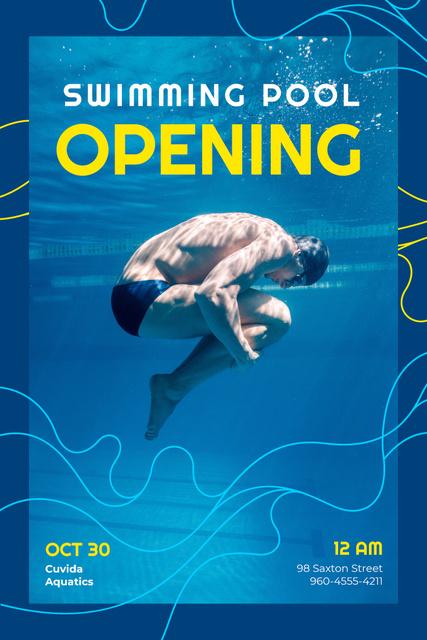 Swimming Pool Opening Announcement with Man Diving Pinterest Tasarım Şablonu