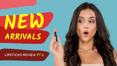 Cosmetics Promotion Woman Holding Lipstick Youtube Thumbnail Modelo de Design