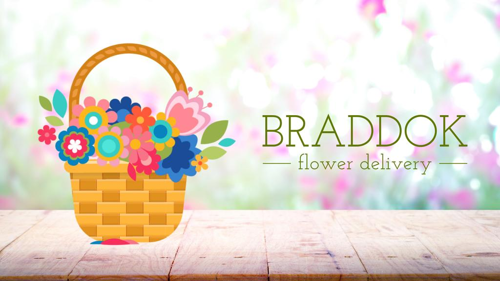 Florist Services Blooming Flowers in Basket — Crea un design