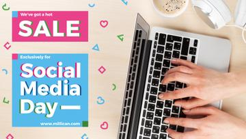 Social Media Day Sale hands typing on Laptop