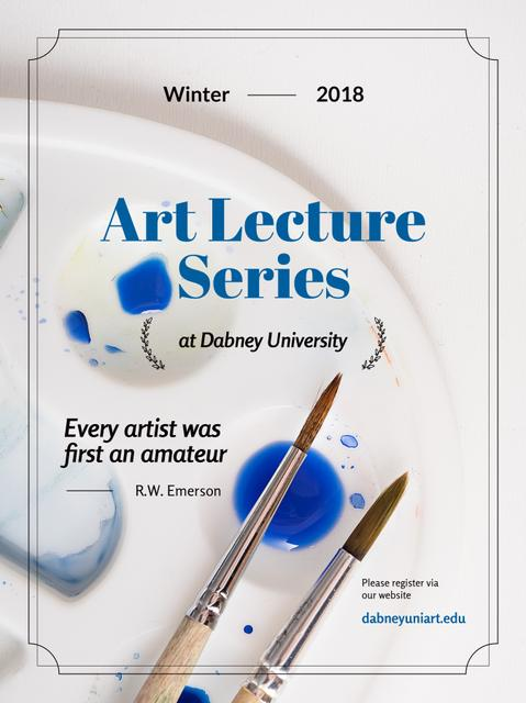 Art Lecture Series Brushes and Palette in Blue Poster US Modelo de Design