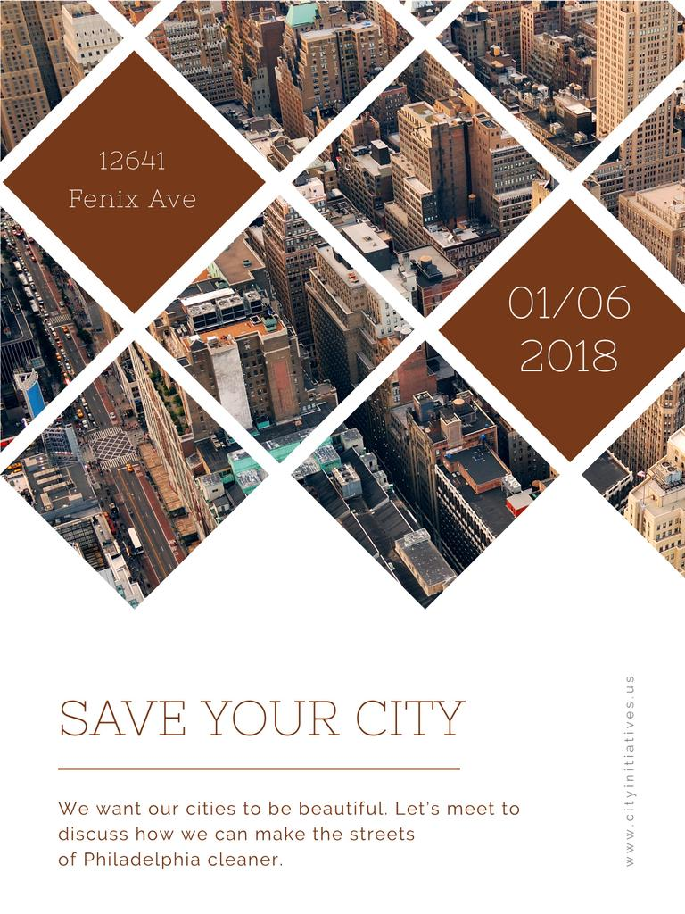 Urban event Invitation with Skyscrapers view — Crea un design