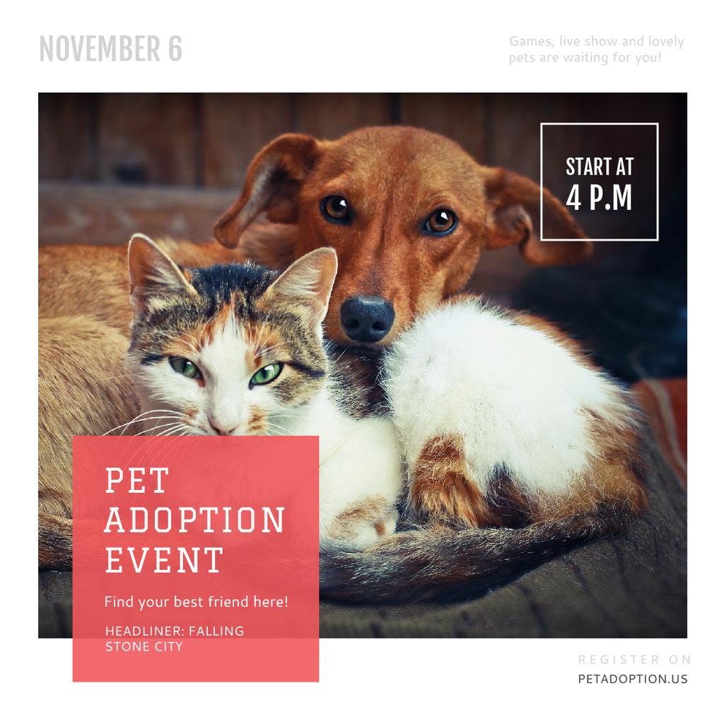 Pet Adoption Event Dog and Cat Hugging — Crear un diseño