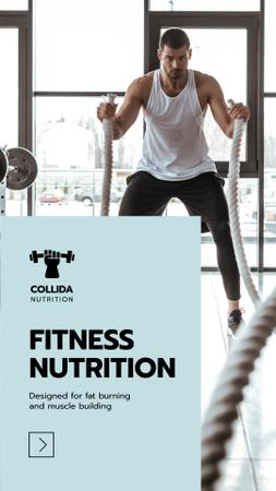 Template di design Sports Nutrition ad with Man Training Mobile Presentation