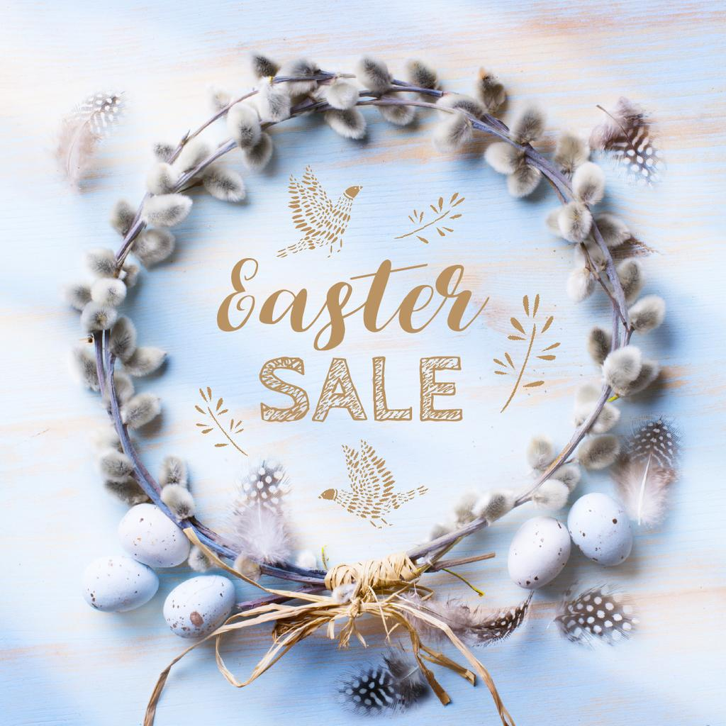 Easter Greeting with willow wreath — Crea un design