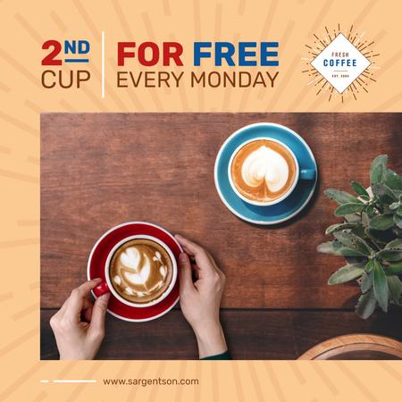 Template di design Coffee Shop promotion with Woman holding cup Instagram AD