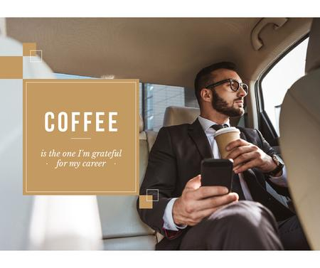 Modèle de visuel Businessman in Car with Coffee and smartphone - Facebook
