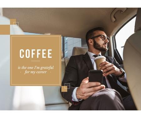 Designvorlage Businessman in Car with Coffee and smartphone für Facebook