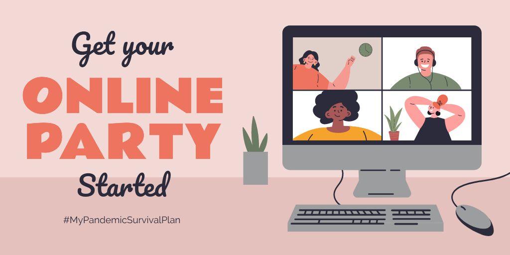 #MyPandemicSurvivalPlan People having Party Online — Crear un diseño