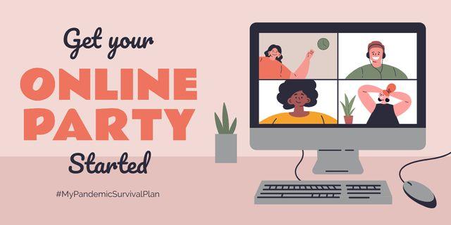 Modèle de visuel #MyPandemicSurvivalPlan People having Party Online - Twitter