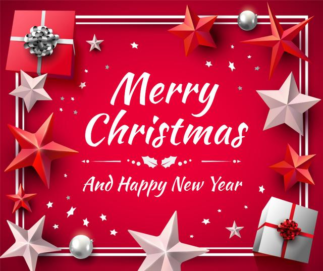 Template di design Greeting Card with Shiny Christmas decorations Facebook