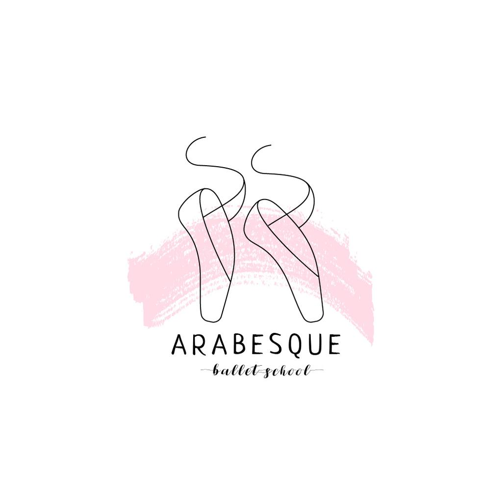 Ballet School Ad with Pointe Shoes in Pink Logo Design Template