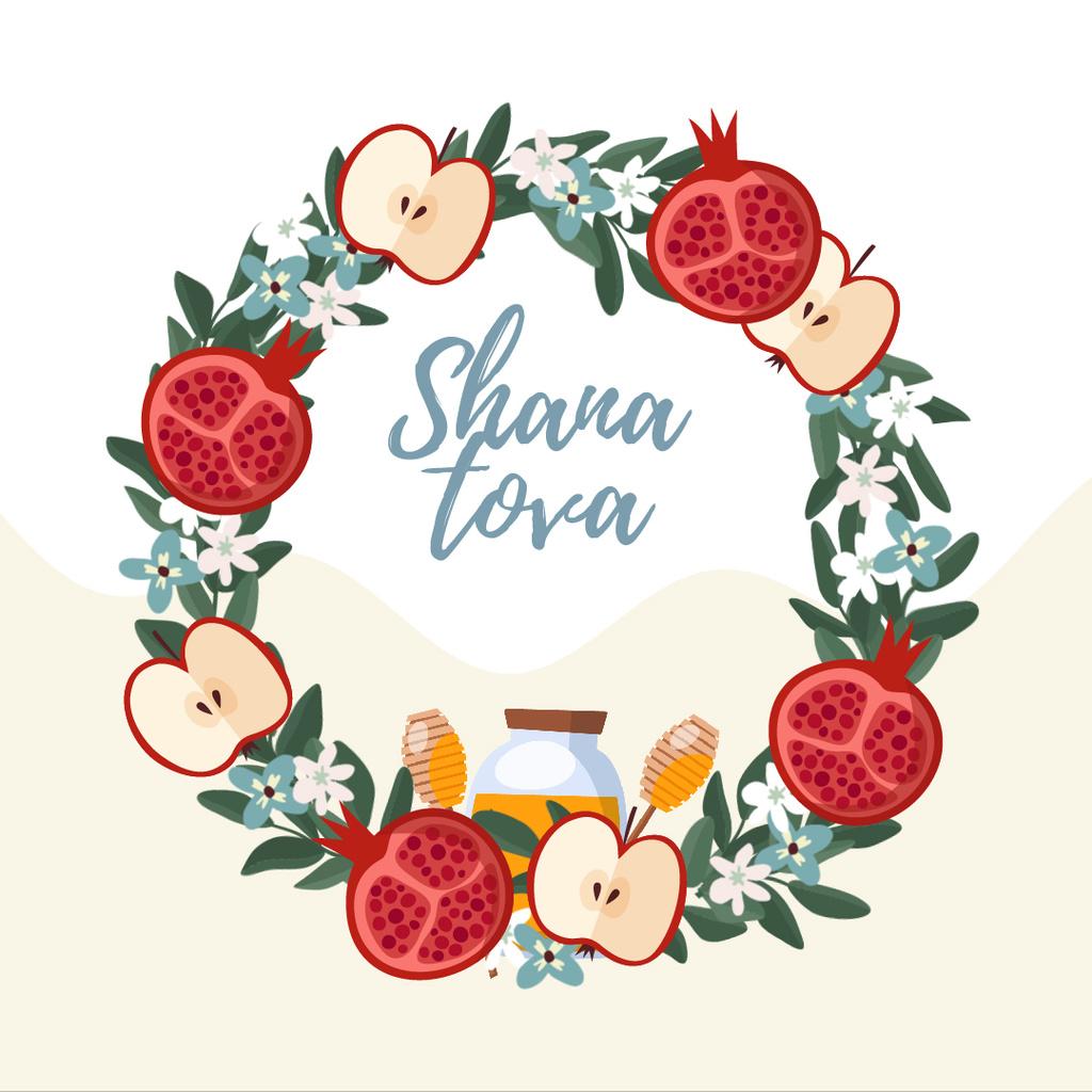 Rosh Hashanah holiday wreath — ein Design erstellen