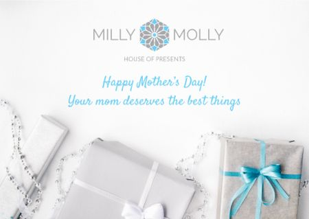 House of presents Ad with gifts on Mother's Day Postcard Design Template