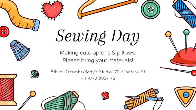 Plantilla de diseño de Sewing day event with needlework tools Title