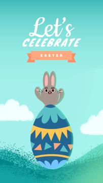 Easter Greeting Cute Bunny and Egg | Vertical Video Template