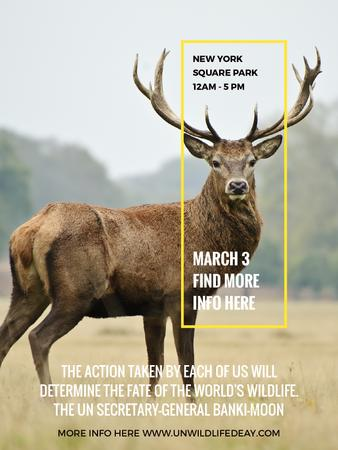 Eco Event announcement with Wild Deer Poster US – шаблон для дизайну