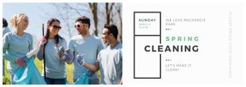 Ecological Event Volunteers Collecting Garbage | Tumblr Banner Template