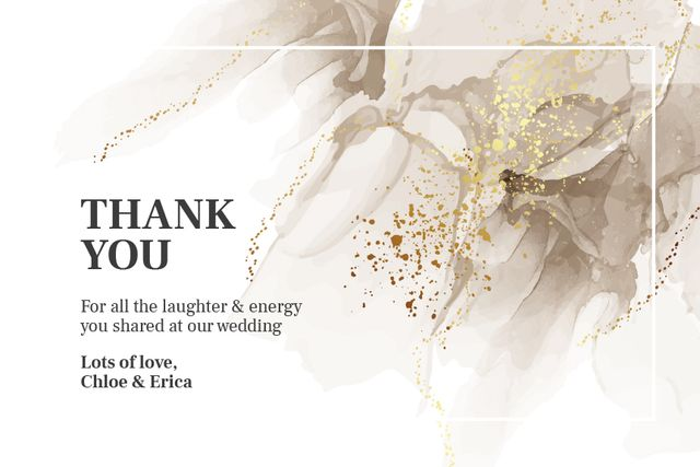 Plantilla de diseño de Wedding thank you on grey watercolor pattern Label