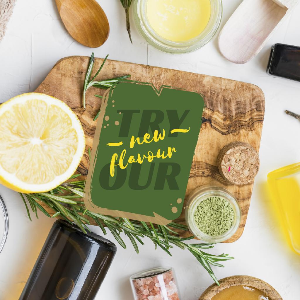Ontwerpsjabloon van Instagram van Herbs and spices on table