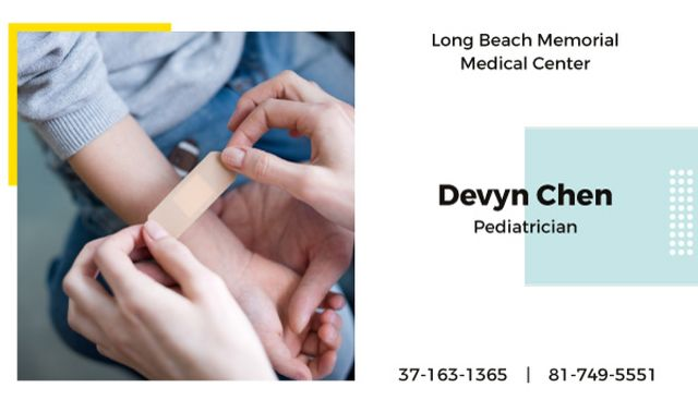 Applying adhesive bandage on kid's arm Business card Design Template