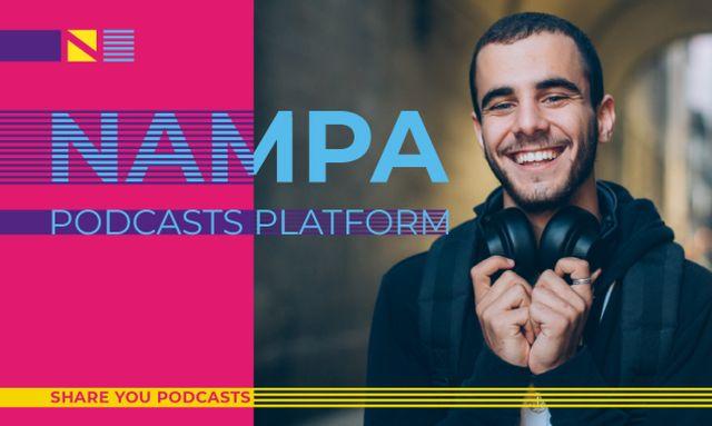 Podcast Platform Ad with Man in Headphones Gallery Image – шаблон для дизайна