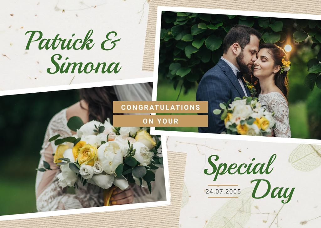 Wedding Invitation Happy Newlyweds in Nature — Modelo de projeto