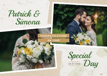 Wedding Invitation Happy Newlyweds in Nature