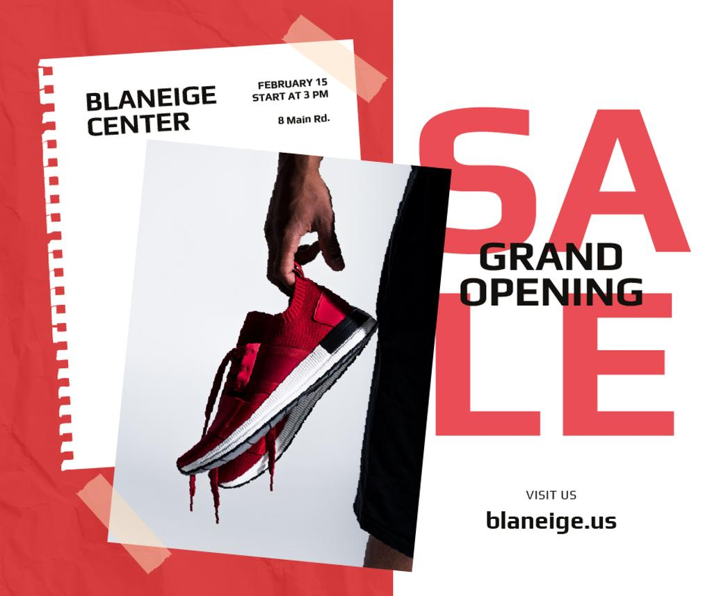 Shoes Sale Sportsman Holding Sneakers — Create a Design