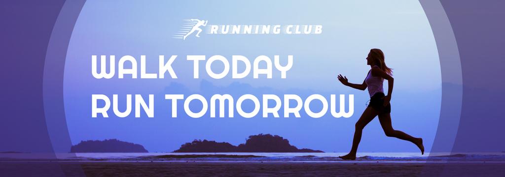 Motivational Sports Quote Running Woman in Blue — Crea un design