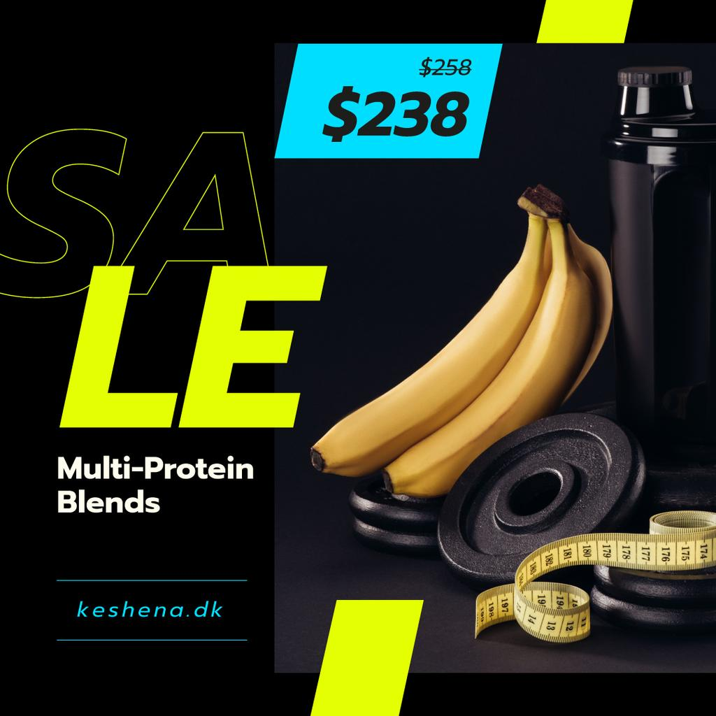 Sports Nutrition Offer Bananas and Weights | Instagram Ad Template — Создать дизайн