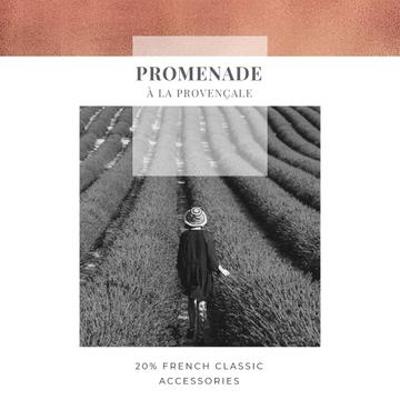 French accessories Offer with Woman in lavender field