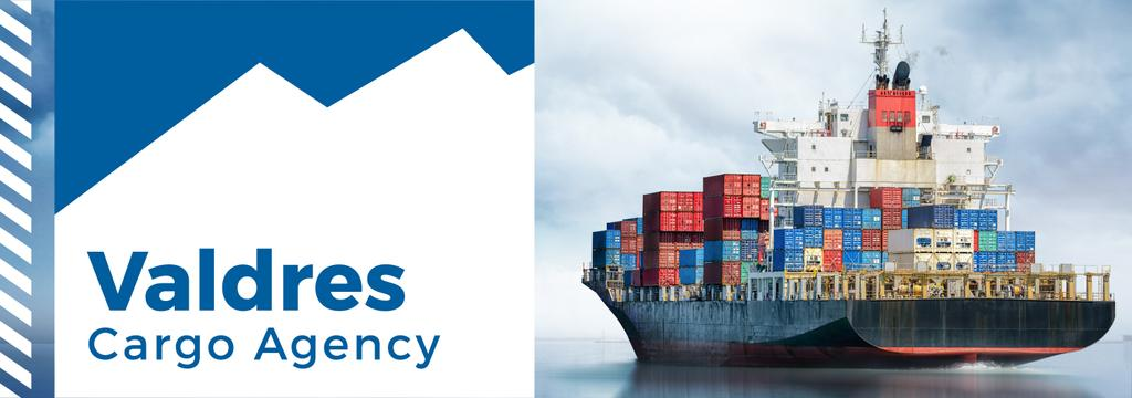 Cargo Agency Ad Ship with Containers —デザインを作成する
