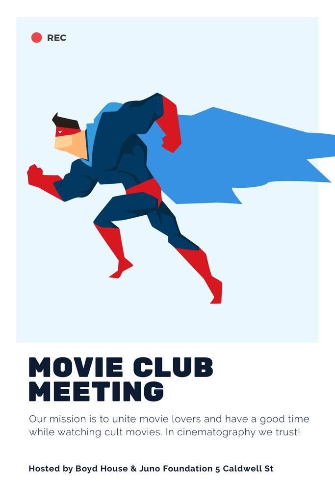 Movie Club Meeting Man in Superhero Costume | Pinterest Template — Crear un diseño