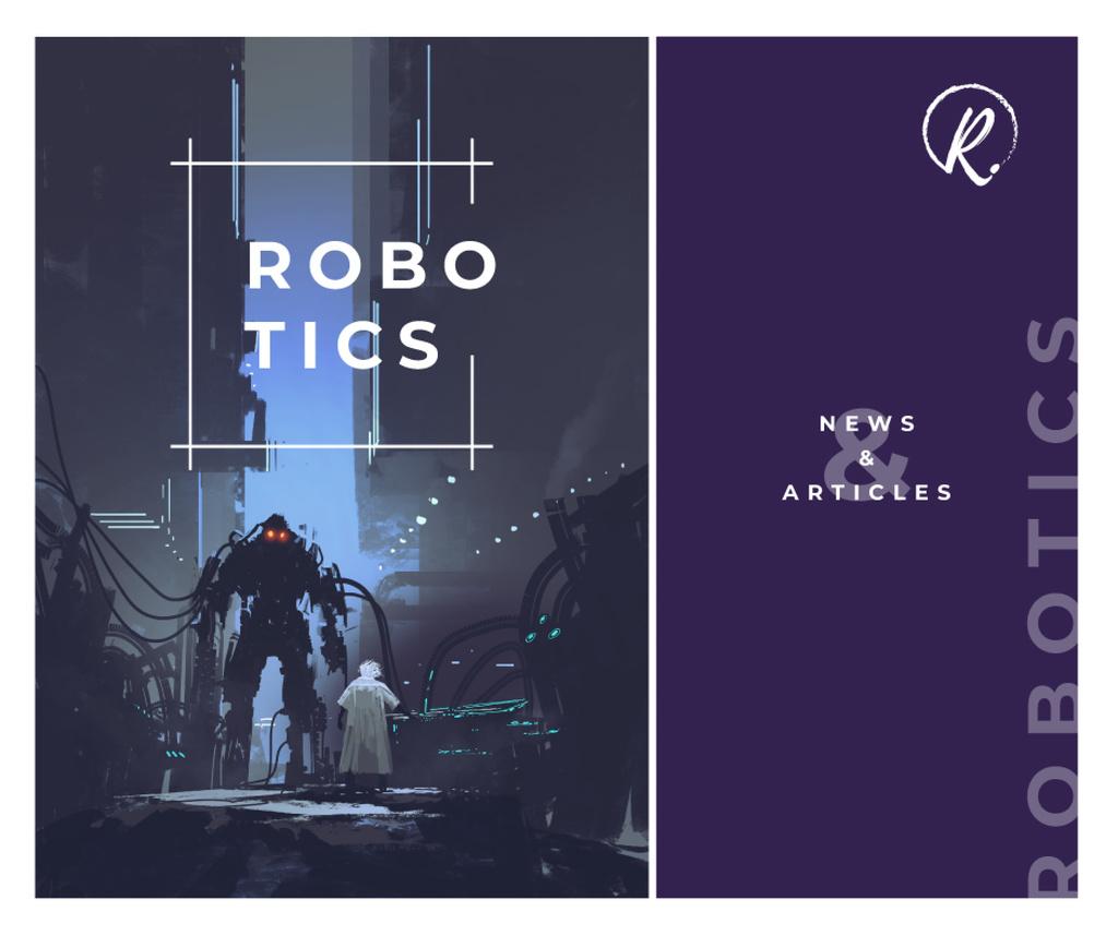 Scientist creating giant robot Facebook Modelo de Design