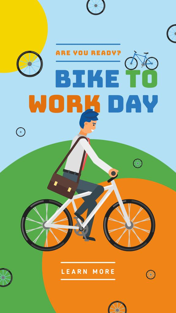 Man riding bicycle on Bike to Work Day — Modelo de projeto