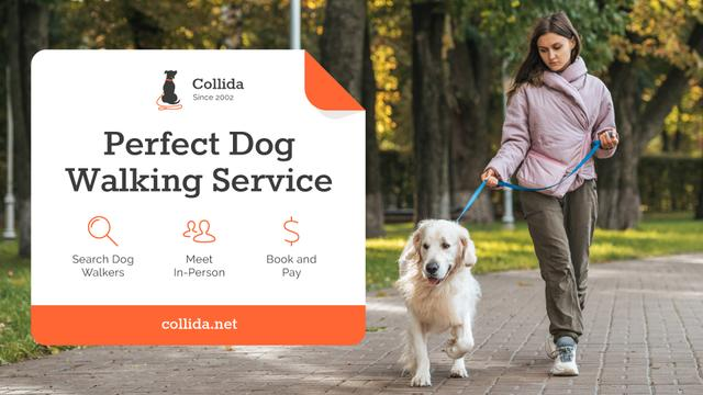 Dog Walking Services Girl with Golden Retriever FB event cover Design Template