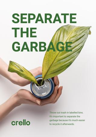 Recycling Concept with Woman Holding Plant in Can Poster – шаблон для дизайна