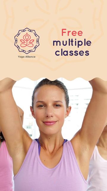 Modèle de visuel Smiling Women Practicing Yoga - Instagram Video Story