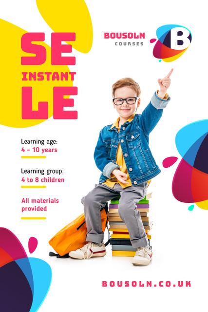 Modèle de visuel Education Courses Promotion with Boy on Stack of Books - Pinterest