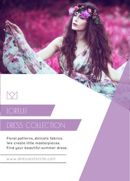 Fashion Ad with Woman in Floral Dress for Flyer in Purple