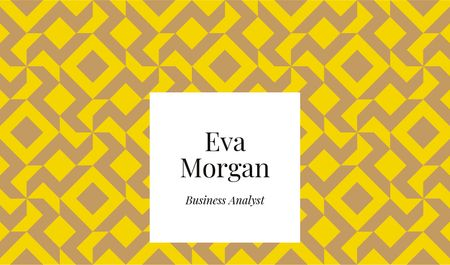 Plantilla de diseño de Business Analyst Services with Geometric Pattern in Yellow Business card